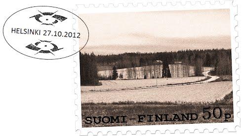Old Finnish stamp,  October 2012 mental landscape in Finnish capital region